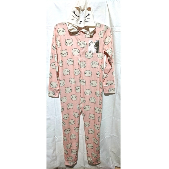 JUSTICE 14/16 Pink Hooded Cat M Pajamas Sequin